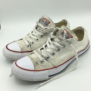 White & Wore Out All Star Converse Sneakers Size 8